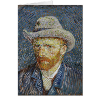 Van Gogh Self Portrait Grey Felt Hat Painting Art Card