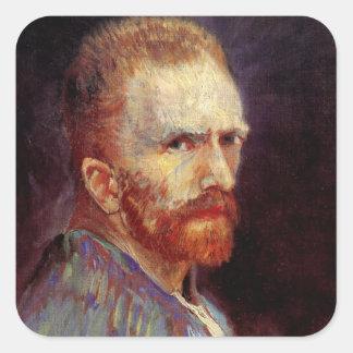 Van Gogh Self Portrait Square Stickers