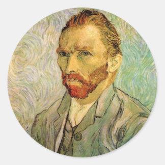 Van Gogh Self Portrait Round Stickers
