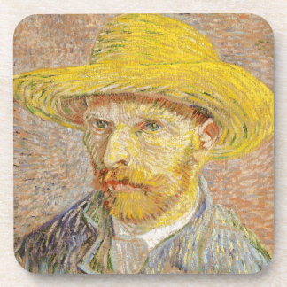Van Gogh Self Portrait with Straw Hat Coasters