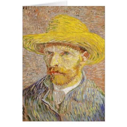 Van Gogh Self Portrait with Straw Hat Note Card