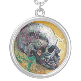 Van Gogh - Skull In Profile Round Pendant Necklace