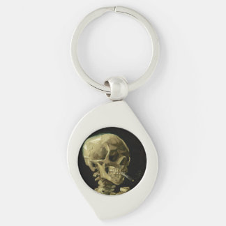 Van Gogh | Skull with Burning Cigarette | 1886 Silver-Colored Swirl Metal Keychain