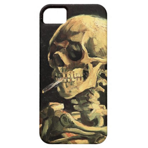 Van Gogh Skull with Burning Cigarette iPhone Case iPhone 5 Cases