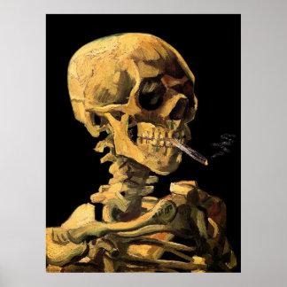 Van Gogh Skull With Burning Cigarette Large Poster