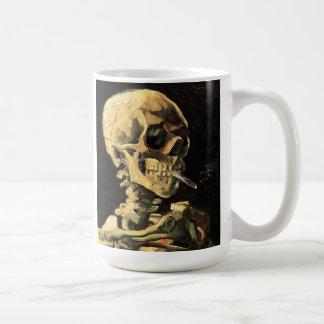 Van Gogh Skull with Burning Cigarette Mug