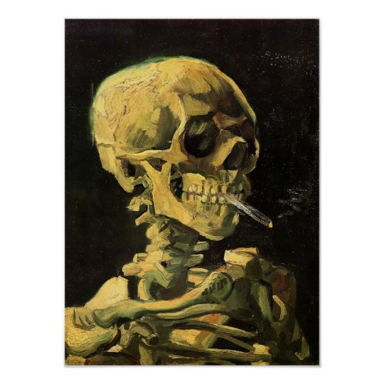 Van Gogh - Skull with Burning Cigarette Poster