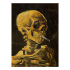 Van Gogh Skull with Burning Cigarette Poster