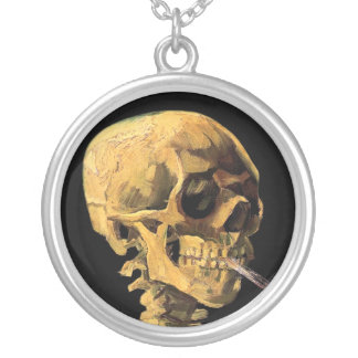 Van Gogh - Skull With Burning Cigarette Round Pendant Necklace