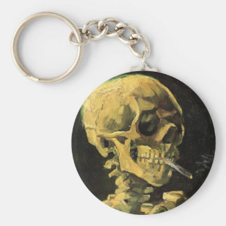 Van Gogh Skull with Burning Cigarette, Vintage Art Basic Round Button Key Ring