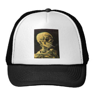 Van Gogh Skull with Burning Cigarette, Vintage Art Cap