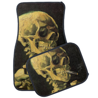 Van Gogh Skull with Burning Cigarette, Vintage Art Floor Mat