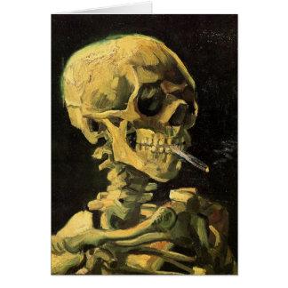 Van Gogh Skull with Burning Cigarette, Vintage Art Greeting Card