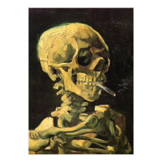 Van Gogh Skull with Burning Cigarette Vintage Art Personalized Announcement
