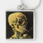 Van Gogh Skull with Burning Cigarette, Vintage Art Silver-Colored Square Key Ring