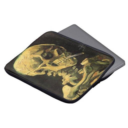 Van Gogh Skull with Burning Cigarette, Vintage Art Laptop Sleeves