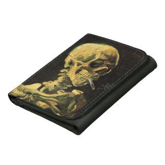 Van Gogh Skull with Burning Cigarette, Vintage Art Leather Tri-fold Wallet