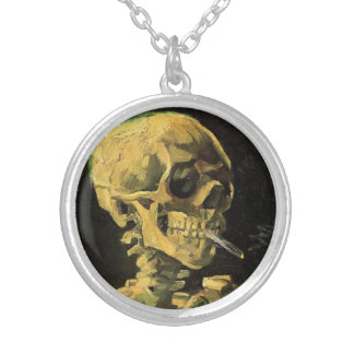 Van Gogh Skull with Burning Cigarette, Vintage Art Necklace
