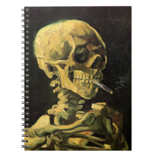 Van Gogh Skull with Burning Cigarette, Vintage Art Spiral Notebooks