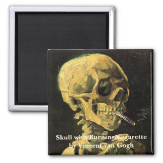 Van Gogh Skull with Burning Cigarette, Vintage Art Square Magnet