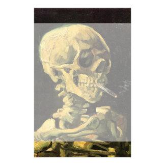 Van Gogh Skull with Burning Cigarette, Vintage Art Stationery