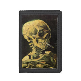 Van Gogh Skull with Burning Cigarette, Vintage Art Trifold Wallets