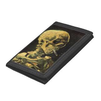 Van Gogh Skull with Burning Cigarette, Vintage Art Trifold Wallets