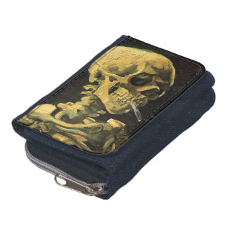 Van Gogh Skull with Burning Cigarette, Vintage Art Wallets