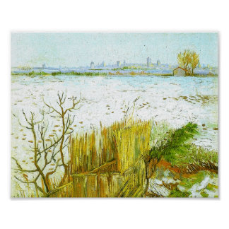 Van Gogh Snowy Landscape, Arles Background Poster