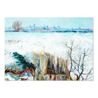 Van Gogh Snowy Landscape w Arles, Vintage Fine Art 13 Cm X 18 Cm Invitation Card