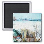 Van Gogh Snowy Landscape w Arles, Vintage Winter Refrigerator Magnets