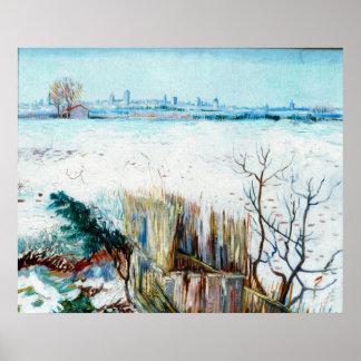 Van Gogh Snowy Landscape w Arles, Vintage Winter Posters