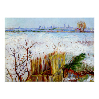 Van Gogh-Snowy Landscape with Arles in Background Poster