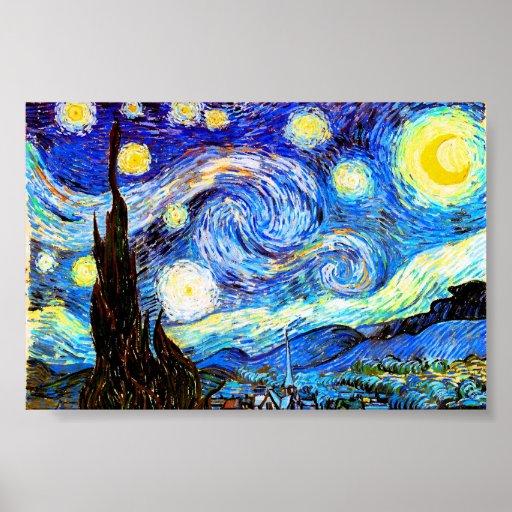 Van Gogh Starry Night (F612) Vintage Fine Art Poster