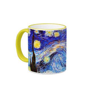 Van Gogh Starry Night (F612) Vintage Fine Art Ringer Mug
