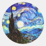 Van Gogh Starry Night (F612) Vintage Fine Art Round Sticker