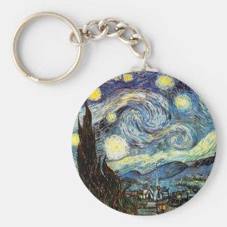 Van Gogh Starry Night Fine Art Basic Round Button Key Ring