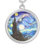 Van Gogh Starry Night Fine Art Round Pendant Necklace