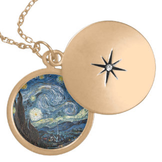 Van Gogh Starry Night Gold Plated Necklace