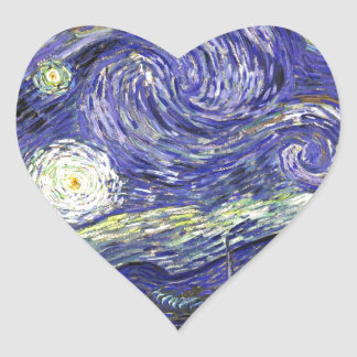 Van Gogh Starry Night Heart Sticker