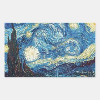 Van Gogh Starry Night Impressionist Painting Rectangular Sticker