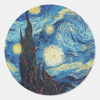 Van Gogh Starry Night Impressionist Painting Round Sticker