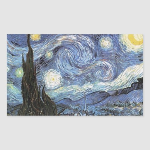 Van Gogh Starry Night Impressionist Painting Rectangle Stickers