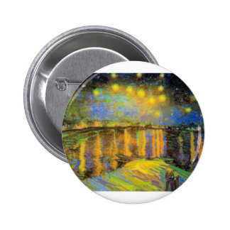 Van Gogh - Starry Night On The Rhone 6 Cm Round Badge