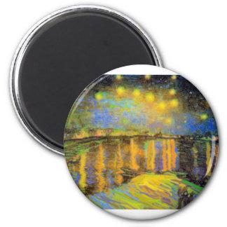 Van Gogh - Starry Night On The Rhone 6 Cm Round Magnet