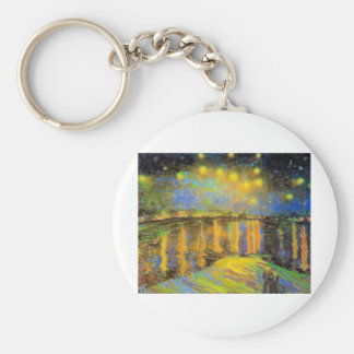 Van Gogh - Starry Night On The Rhone Basic Round Button Key Ring