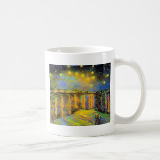 Van Gogh - Starry Night On The Rhone Basic White Mug