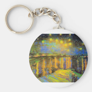 Van Gogh - Starry Night On The Rhone Basic Round Button Key Ring