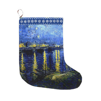 Van Gogh - Starry Night on the Rhone Large Christmas Stocking