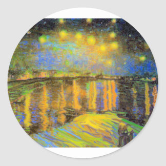 Van Gogh - Starry Night On The Rhone Round Sticker